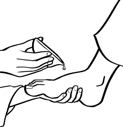 An illustration of two hands holding a foot and pouring water over it from a small bowl.