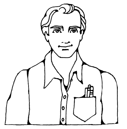 An illustration of Joseph Smith smiling in a button-up shirt with a front pocket.