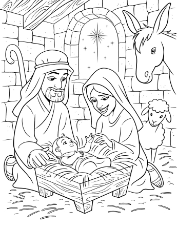 An illustration of Joseph, Mary, and baby Jesus in a manger with a sheep and donkey behind them.