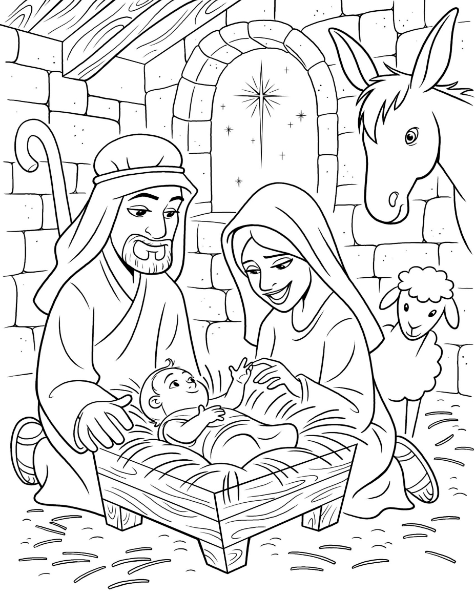 The birth of christ for Coloring pages baby jesus in manger