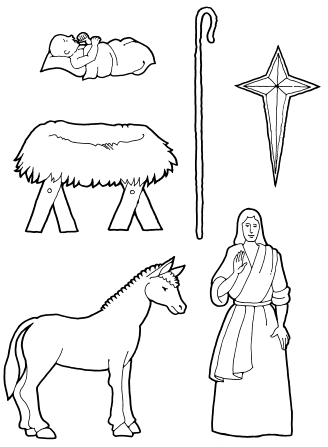 A coloring page with Nativity pieces, including the baby Jesus, the manger, a horse, a staff, the star, and an angel.