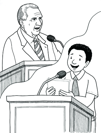 An illustration of a boy standing at a pulpit and speaking while holding a paper in his hands, and an image of President Monson speaking above him.