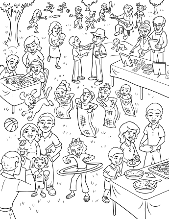 An illustration of a large extended family gathering with children doing sack races and playing with balls, Frisbees, and hula hoops while others eat.