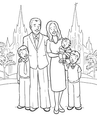 An illustration of a mother and father with their three children standing in front of the San Diego California Temple.