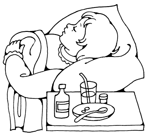 An illustration of a young girl sleeping in her bed while she is sick. Next to her is a table with medicine, a cup, and a plate with a spoon.