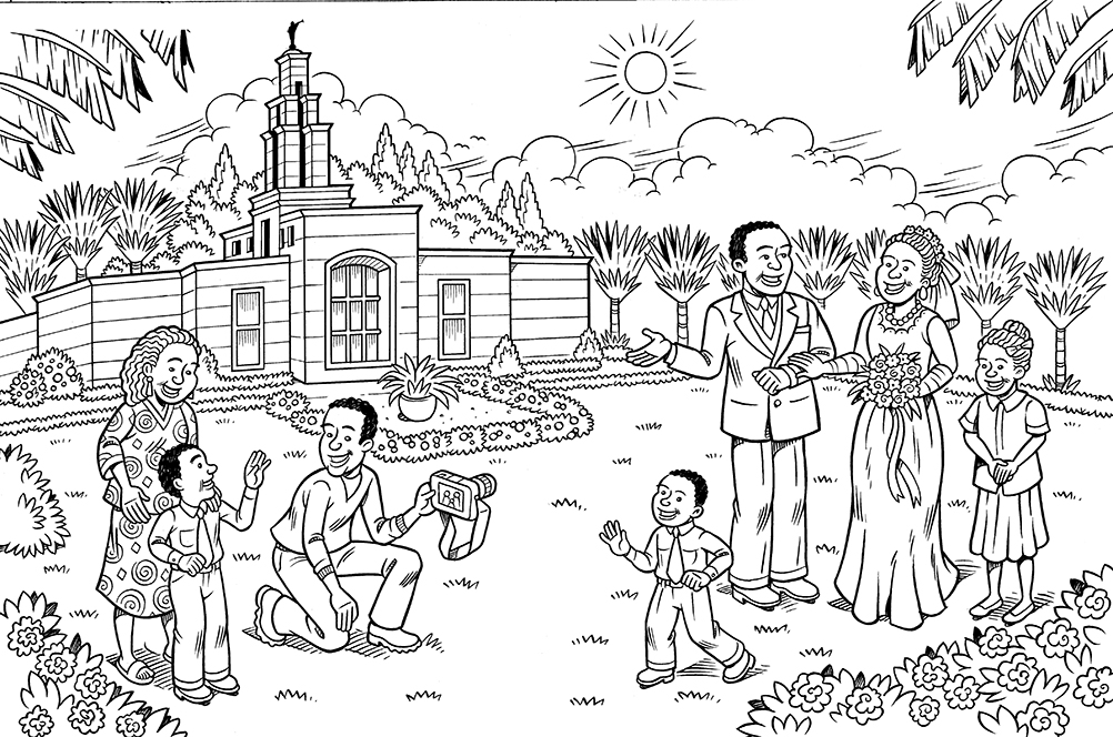An illustration of a bride and groom standing outside of a temple, having their picture taken, with people watching nearby.