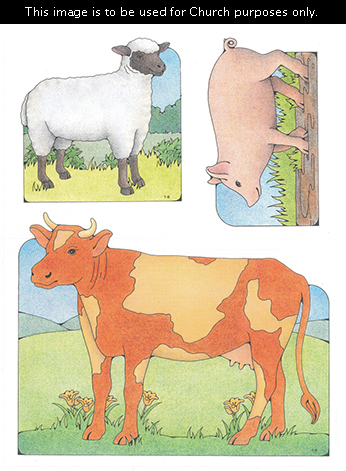 Primary cutouts of a white sheep with a black face, a pig standing in mud, and an orange cow with cream-colored spots standing on grass.