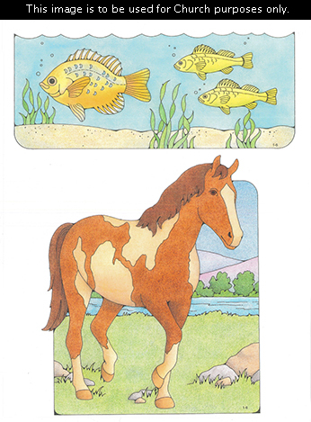 Primary cutouts of three yellow fish swimming in water and a brown horse with cream-colored spots walking on grass near rocks and a river.