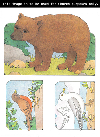 Primary cutouts of a bear standing near rocks and trees, a brown bird standing on a rock, and a white bird standing with other birds flying in the background.
