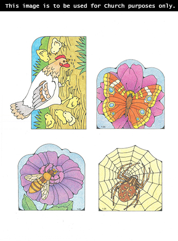 Primary cutouts of a chicken standing with her chicks, an orange butterfly, a bee on a purple flower, and a spider on a spiderweb.