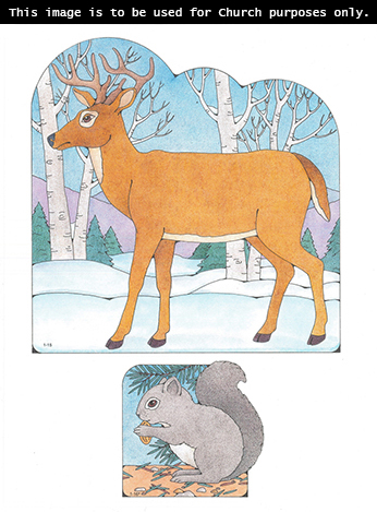 Primary cutouts of a deer standing on snow by trees and a gray squirrel sitting while eating an acorn.