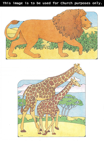 Primary cutouts of a lion walking with its tail facing up and a mother giraffe walking beside her baby.