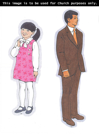 Primary cutouts of a young girl standing in a pink dress, white tights, and black shoes and a missionary-age young man standing in a brown suit and tie.
