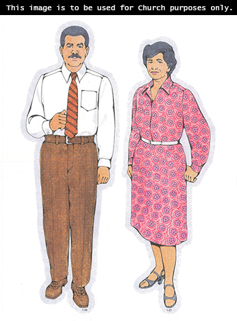 Primary cutouts of a father standing in a white shirt, an orange tie, and brown pants and a mother with short black hair standing in a pink dress.