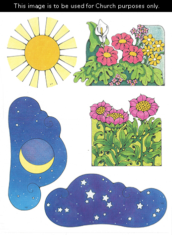 Primary cutouts of a yellow sun with an orange center, a moon at night, white stars, pink flowers, and different-colored flowers.
