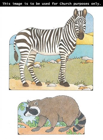 Primary cutouts of a zebra standing next to a lake and a raccoon walking on a branch.