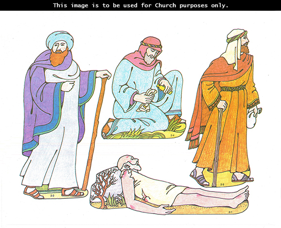 Primary cutouts of a wounded man lying on the ground, a priest walking with a staff, a Levite walking with a bag, and a Samaritan kneeling on the ground.