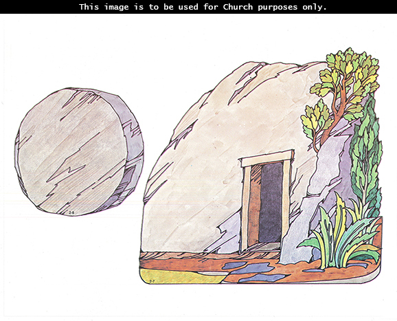 Primary cutouts of a tomb with an open door near green brush and a large stone that is used to cover the tomb's door.