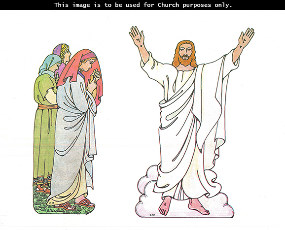 Primary cutouts of three women standing and holding bottles of ointment and Jesus Christ standing resurrected with His arms raised up.