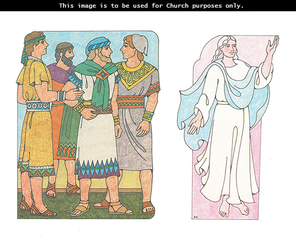 Primary cutouts of the four sons of Mosiah standing and looking at each other and an angel standing with an arm reaching upward.