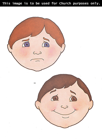 Two Primary cutouts of a boy's face that is angry and a boy's face that is happy.