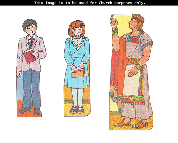 Primary cutouts of a boy standing in a suit and tie, a girl standing in a blue dress and holding scriptures, and Alma the Younger standing with a raised arm.