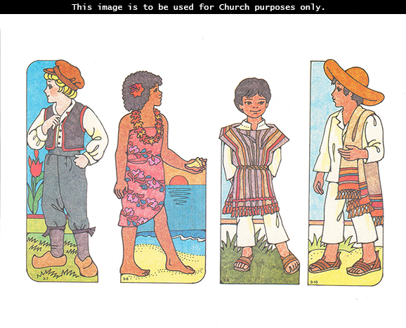 Primary cutouts of a Dutch boy wearing a hat, a Fijian girl holding a shell by the ocean, a Mexican boy standing on grass, and a Mexican boy in a hat.