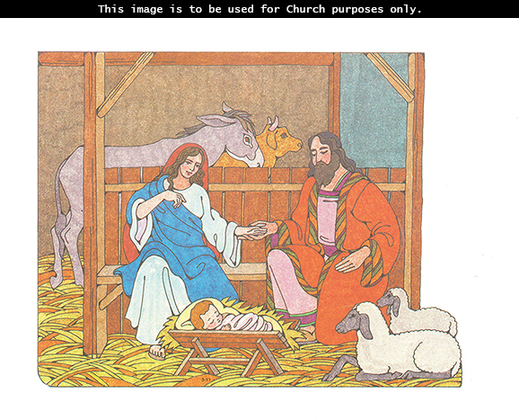 A Primary cutout of Mary and Joseph holding hands while looking down at baby Jesus sleeping in a manger, with a cow, horse, and sheep nearby.