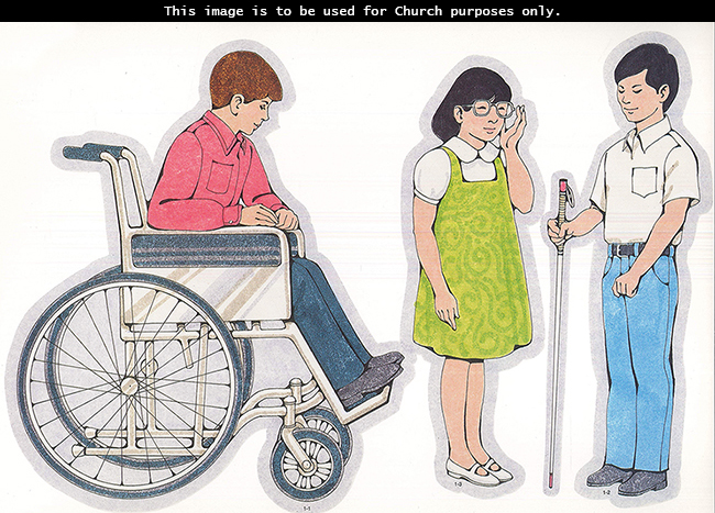 Primary cutouts of a boy with a pink shirt sitting in a wheelchair, a blind boy holding a cane, and a girl in a green dress touching her glasses.