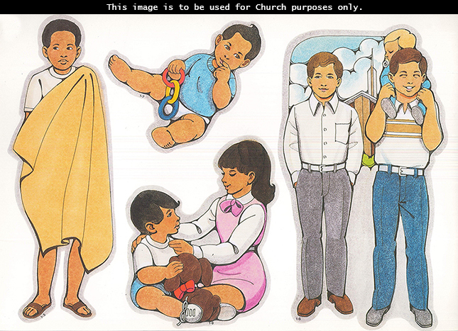 Primary cutouts of an African boy, two older boys with a child at a meetinghouse, a year-old child, and a girl playing with her little brother.
