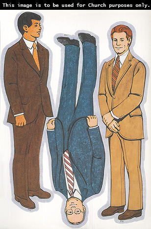 Primary cutouts of a man in a brown suit and an orange tie, a man in a blue suit with glasses, and a man with red hair in a light brown suit.