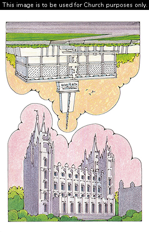 Two Primary cutouts of the Salt Lake Temple surrounded by green bushes and the Mexico City Mexico Temple with birds flying in the sky.