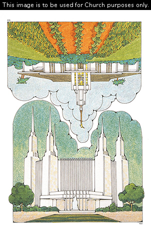 Two Primary cutouts of the Washington D.C. Temple with a clear blue sky and the Apia Samoa Temple with a green and orange landscape.