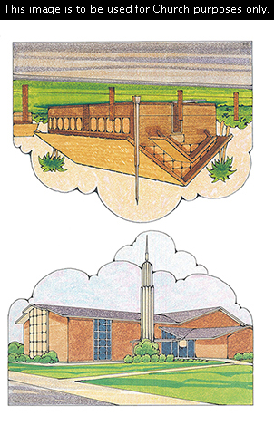 Two Primary cutouts of a large meetinghouse with a steeple and a small wooden meetinghouse.