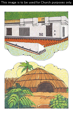 Two Primary cutouts of a brown subtropical or tropical home and a white Spanish-style home with an orange roof.