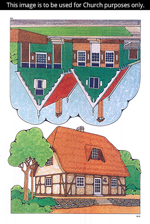 Two Primary cutouts showing different homes, a green and red wooden home and one with a thatched roof.