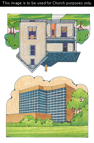 Two Primary cutouts of a turn-of-the-century home with a green lawn and a tall blue apartment building with trees on the side.