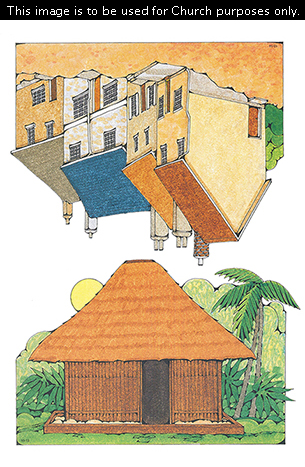 Two Primary cutouts of a Polynesian home with the sun in the background and a row of houses with red, orange, blue, and gray roofs.