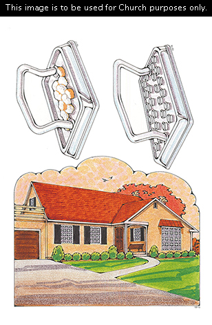 Primary cutouts of a rambler-style home with a long driveway, a metal sacrament tray with broken bread, and a metal sacrament tray with water cups.