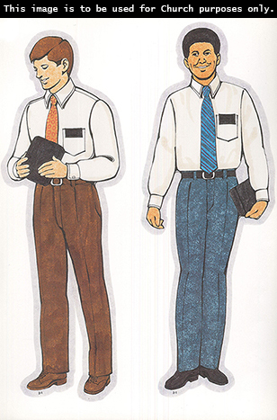 Two Primary cutouts of a missionary elder in a white shirt, an orange tie, and brown pants and a missionary elder in a white shirt, a blue tie, and blue pants.