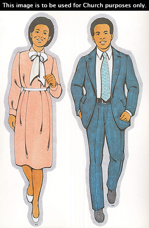 Two Primary cutouts of a black mother walking in a light pink dress and a black father walking in a white shirt, blue tie, and blue suit.
