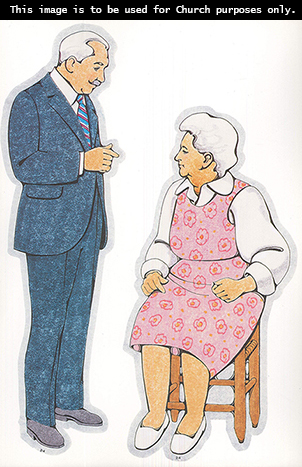 Two Primary cutouts of a grandfather with white hair and a white shirt, striped tie, and blue suit and a grandmother with white hair and a pink dress.