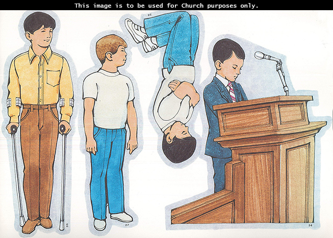 Primary cutouts of a boy holding crutches, a boy kneeling in prayer, a boy with Down syndrome, and a boy praying at a microphone at church.