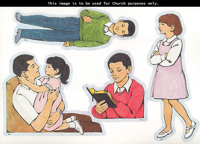 Primary cutouts of a girl hugging her father, a boy reading scriptures, a girl walking reverently with folded arms, and an Asian Primary boy.