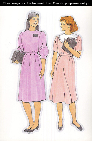 Two Primary cutouts of a black-haired sister missionary in a light purple dress and a brown-haired sister missionary in a light pink dress.