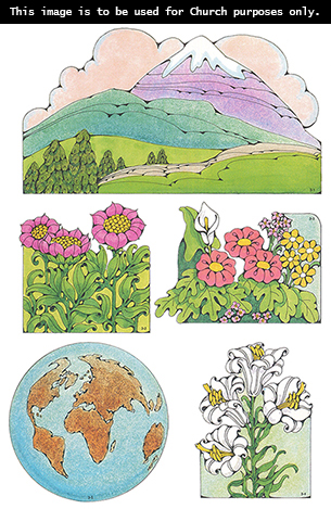 Primary cutouts of a mountain topped with snow, pink flowers, different-colored flowers, white flowers, and a world globe.