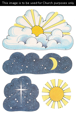 Primary cutouts of a sun shining through clouds, a moon surrounded by stars, the bright star seen in Bethlehem, and a yellow sun with an orange center.