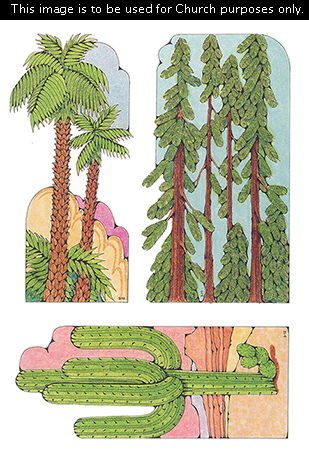 Primary cutouts of two palm trees, tall pine trees, and a cactus in the desert.
