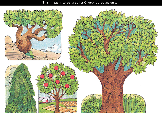 Primary cutouts of a large tree by grass, a small gnarled tree by rocks, a small tree with red apples on a farm, and a small pine tree.