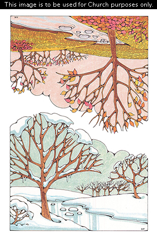 Two Primary cutouts of a fall scene with a river by trees with leaves in changing colors, and a winter scene with a frozen river surrounded by snow.